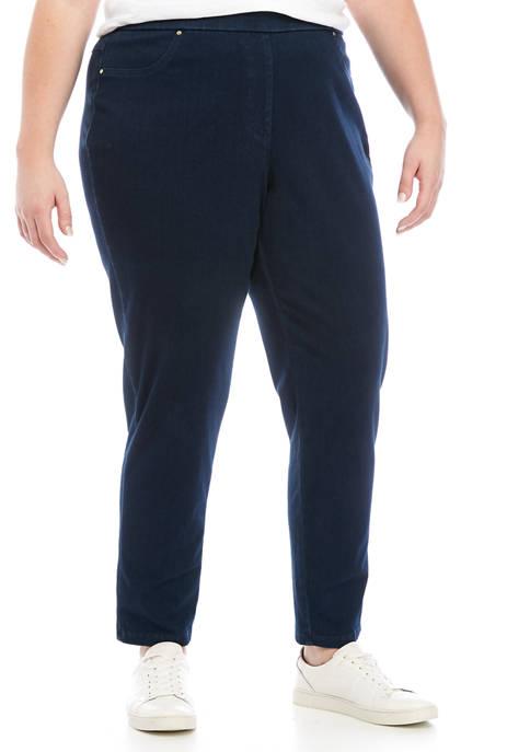 Plus Size Pull On Indigo Twill Pants