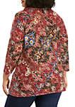 Plus Size Arts & Crafts Hacci Cowl Neck Patchwork Knit Top