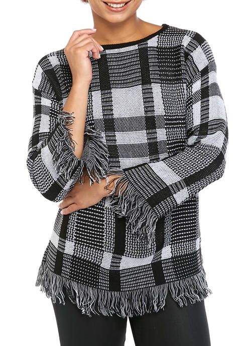 Womens Plaid Fringe Sweater