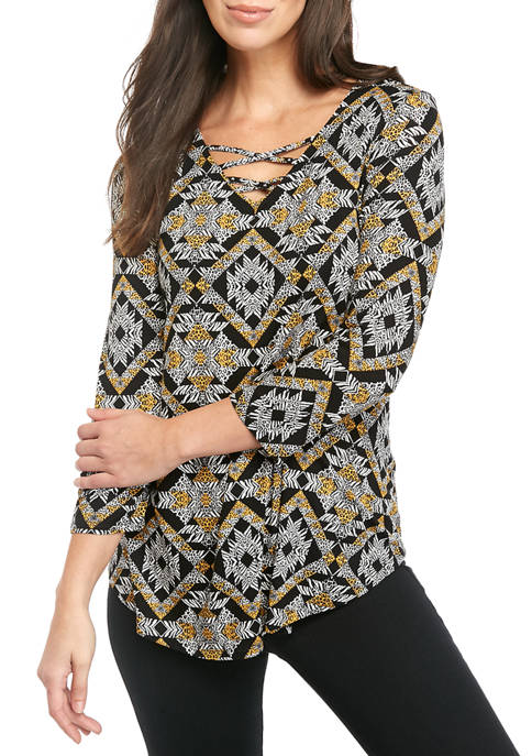 Womens Cage Neck Kaleidoscope Print Knit Shirt