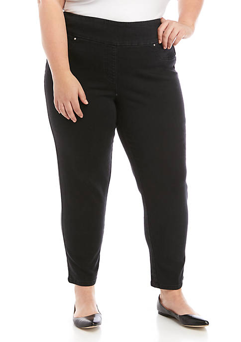 Plus Size Pull On Denim Skinny Ankle Pants