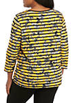 Plus Size Embellished Yarn Dye Stripe Knit Top