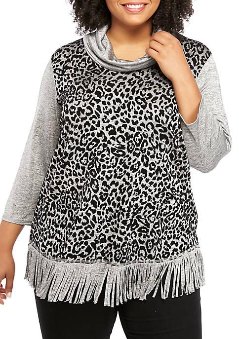 Ruby Rd Plus Size Cowl Neck Leopard Hacci
