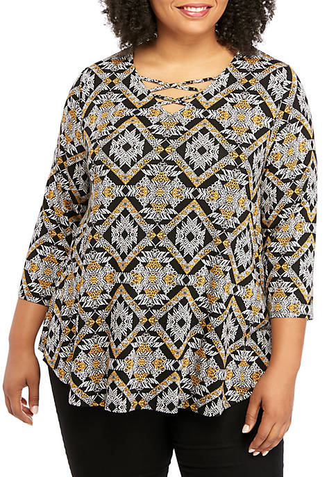 Ruby Rd Plus Size Embellished Cage Neck Leopard