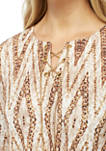 Chain Split Neck Leopard Knit Shirt