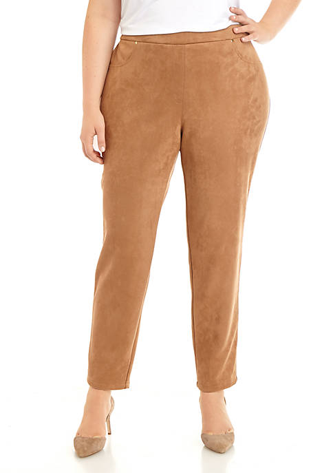 Plus Size Wild Mix Pull On Stretch Suede Pants