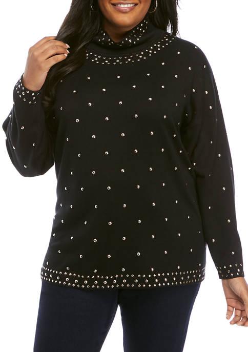 Plus Size Wild Mix Embellished Mock Neck Sweater