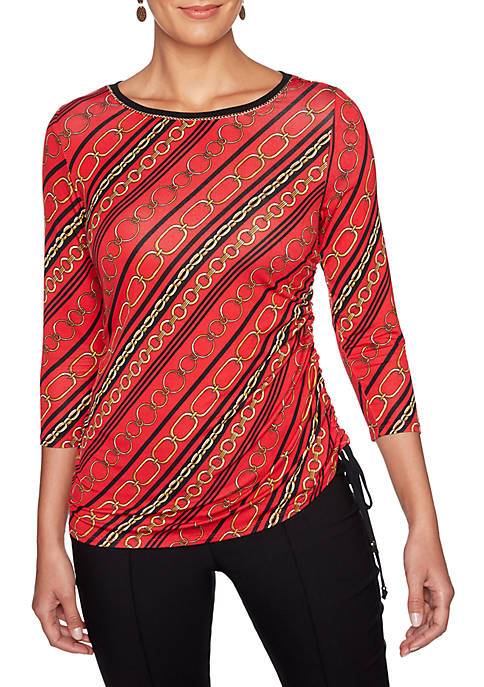 Petite Wild Mix Embellished Striped Knit Top
