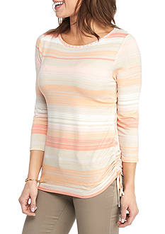Ruby Rd Petite Must Have Multi Stripe Side Ruched Top