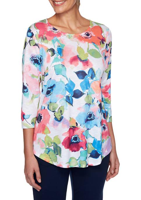 Womens Sublime Sublimation Watercolor Floral Top