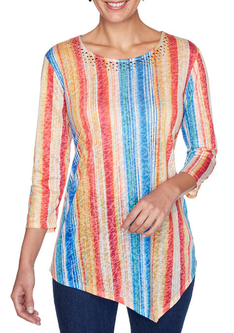 Womens Must Haves Striped Burnout Top