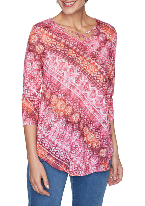 Ruby Rd Womens Embellished Diagonal Striped Burnout Top