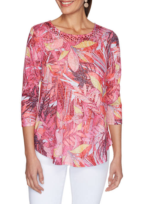 Ruby Rd Womens Must Haves Floral Sublimation Burnout