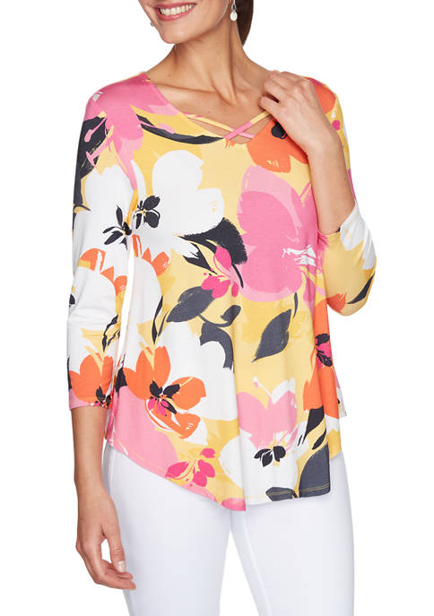 Ruby Rd Womens Must Haves Crisscross V-Neck Floral