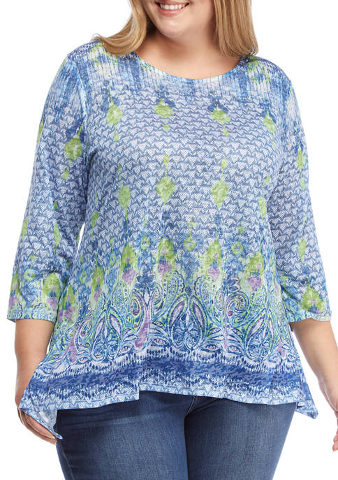 Ruby Rd Plus Size Embellished Printed Burnout Top