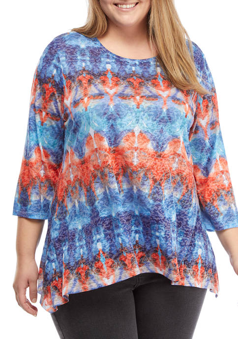Ruby Rd Plus Size Embellished Tie Dye Burnout