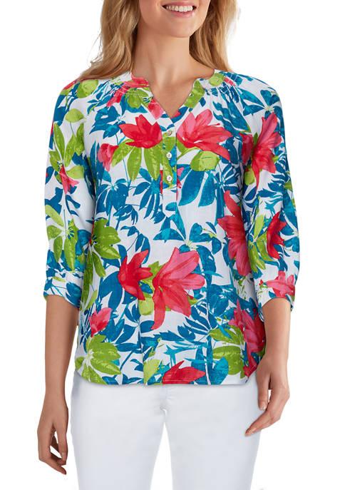 Ruby Rd Womens Deep Tropics Linen Buttoned Henley