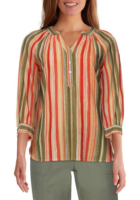 Ruby Rd Womens Batik Chic Watercolor Striped Linen