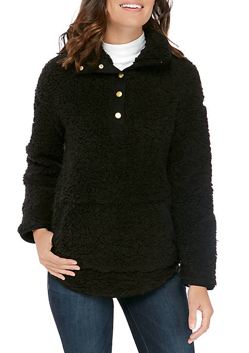 Soft & Cozy Suede Trim Sherpa Jacket