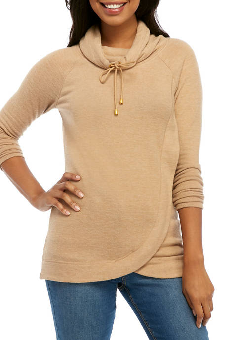 Womens Cowl Neck Cozy Knit Top