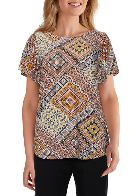Ruby Rd Womens Exotic Escape Ruffled Abstract Diamond