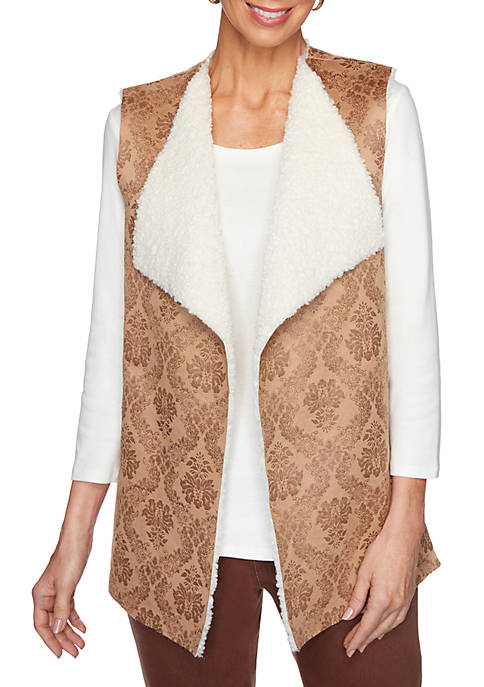 Womens Apres Skies Embroidered Faux Suede Sherpa Vest