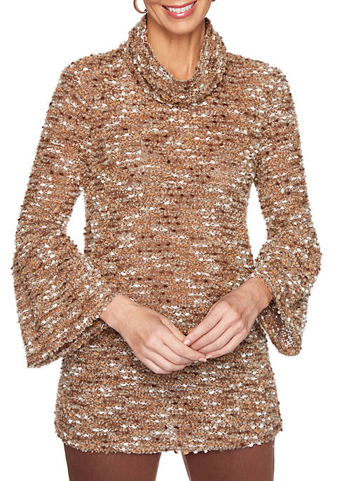 Womens Apres Ski Long Sleeve Cozy Boucle Pullover Tunic