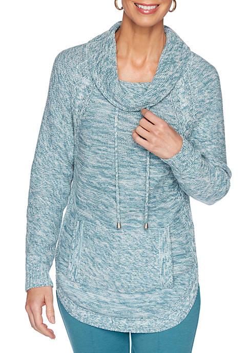 Womens Apres Ski Space Dye Kangaroo Pocket Sweatshirt