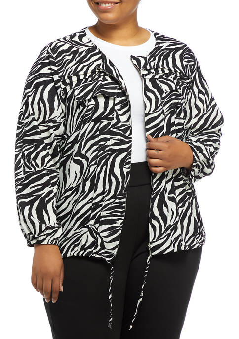 Ruby Rd Plus Size Lightweight Zebra Print Zip-Front