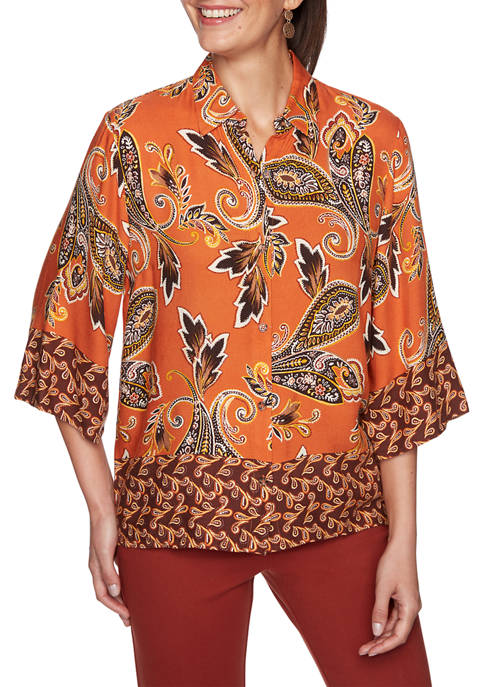 Ruby Rd Petite Autumn Glow Paisley Top