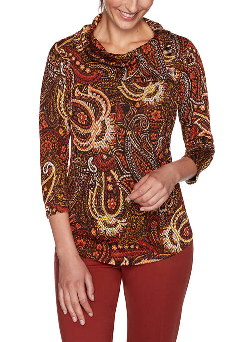 Petite Autumn Glow Cowl Neck Paisley Top