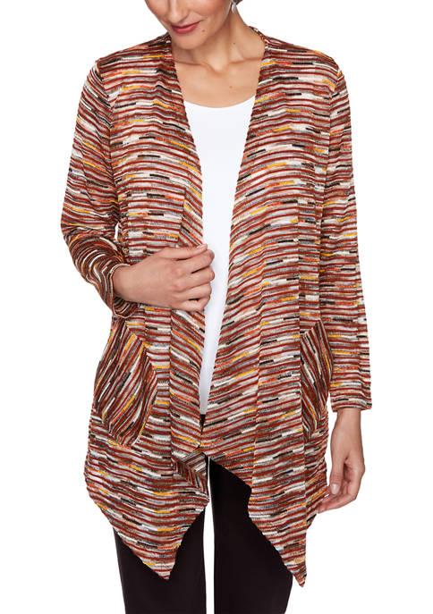 Petite Autumn Glow Metallic Knit Cardigan