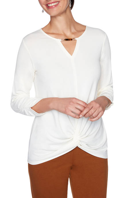 Petite Autumn Glow Knit Solid Tie Front Top
