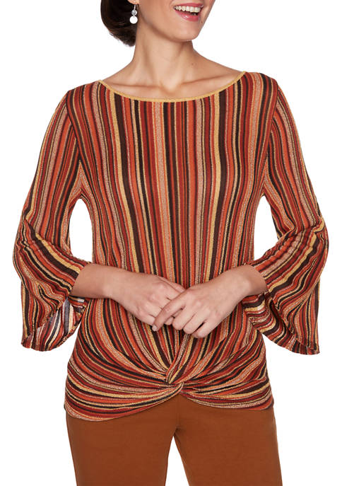 Petite Autumn Glow Stripe Pullover Sweater