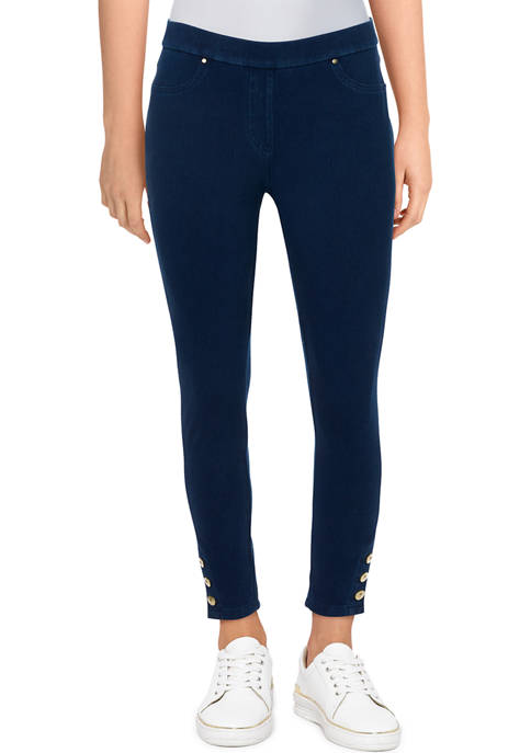 Ruby Rd Womens Mid-Rise Button Hem Ankle Pants
