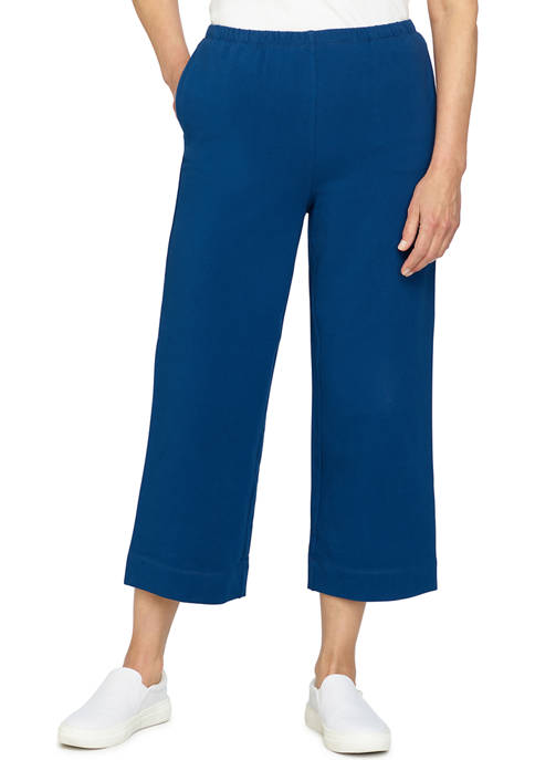 Ruby Rd Womens Pull-On French Terry Wide-Leg Ankle