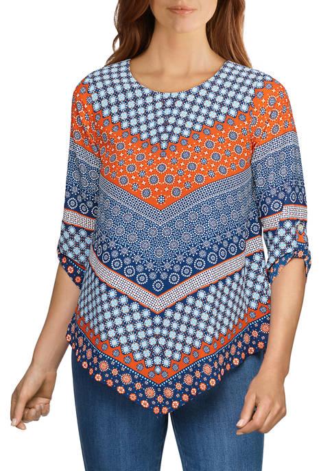 Ruby Rd Womens Chevron Printed Asymmetrical Woven Top