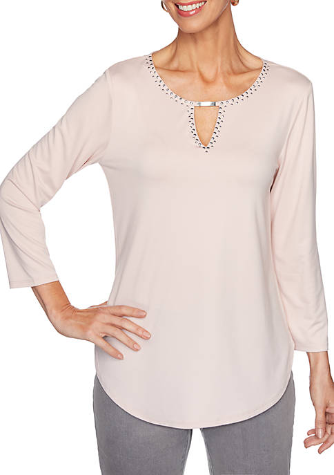 Womens Silver Bells Embellished Keyhole Solid Knit Top
