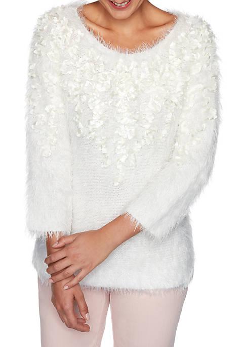 Womens Silver Belles Embellished Flower Eyelash Sweater