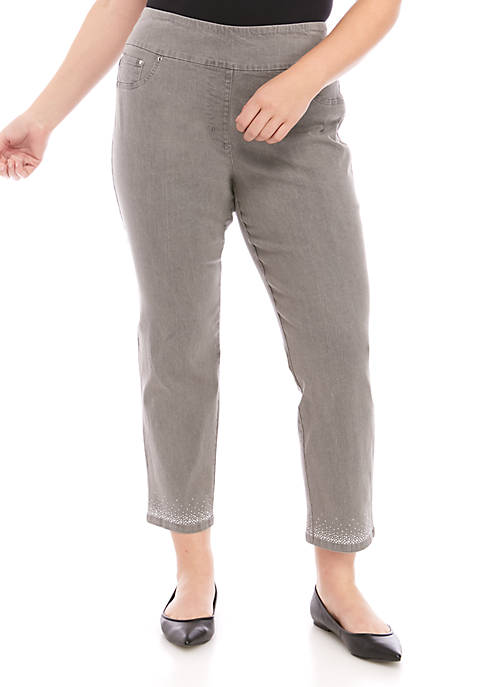 Plus Size Silver Bells Pull On Stretch Ankle Pants with Embellishments