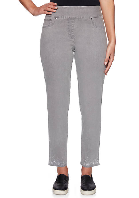 Petite Silver Belles Pullover Stretch Ankle Pants with Embellishments