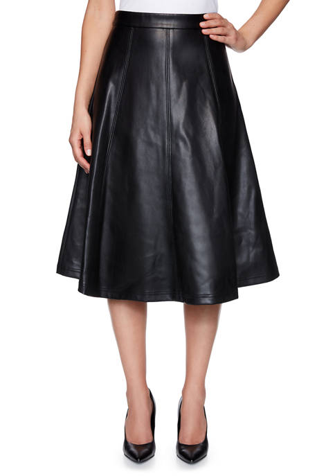 Womens Paint the Town Red Side Zip Faux Leather Skirt