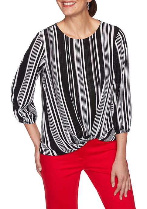 Womens Paint the Town Red Tuxedo Stripe Crepe Top