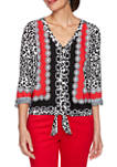 Womens Paint the Town Red Leopard Print Silky Top