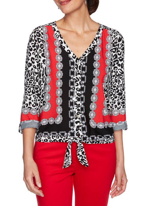 Ruby Rd Womens Paint the Town Red Leopard