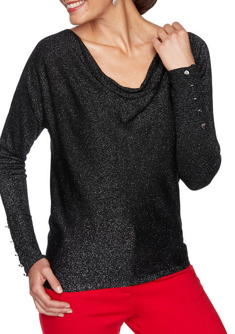 Womens Paint the Town Red Drape Neck Metallic Sweater