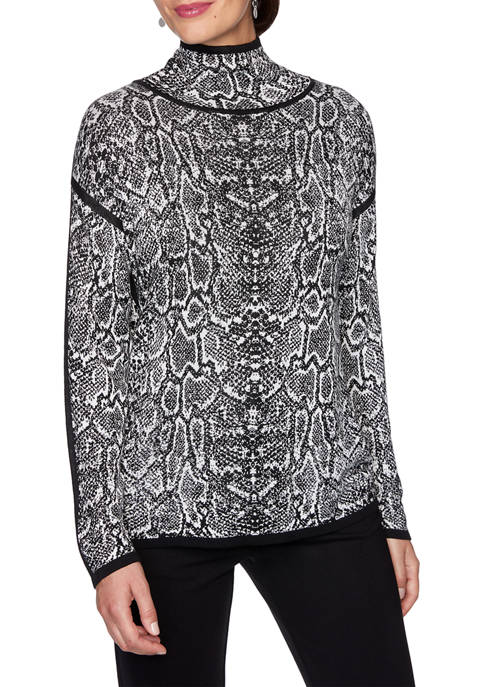 Womens Paint the Town Red Mock Neck Snakeskin Sweater