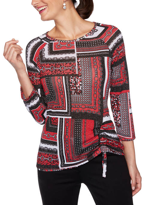 Womens Paint the Town Red Embellished Patchwork Print Top