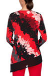 Womens Paint the Town Red Split Neck Printed Top