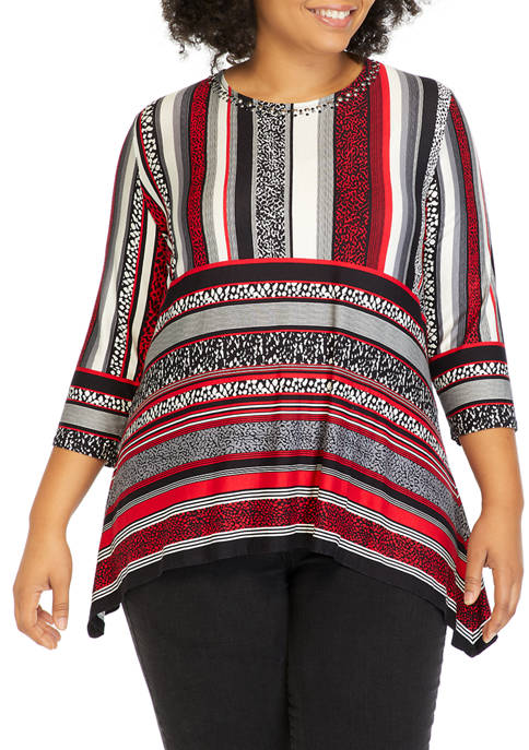 Plus Size Paint the Town Embroidered Border Print Top